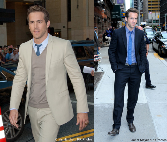 Ryan Reynolds wears a lot of leather jackets when he dresses casually.